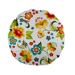 Flower Floral Rose Sunflower Leaf Color Standard 15  Premium Round Cushions