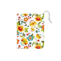 Flower Floral Rose Sunflower Leaf Color Drawstring Pouches (small)  by Alisyart