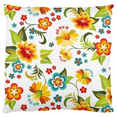 Flower Floral Rose Sunflower Leaf Color Large Flano Cushion Case (two Sides) by Alisyart
