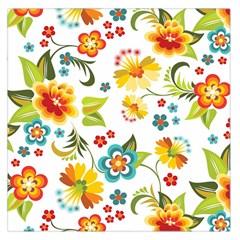 Flower Floral Rose Sunflower Leaf Color Large Satin Scarf (square) by Alisyart