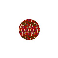 Red Flower Floral Tree Leaf Red Purple Green Gold 1  Mini Buttons by Alisyart