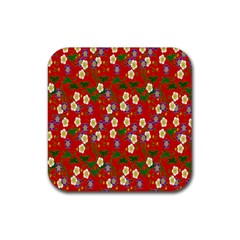 Red Flower Floral Tree Leaf Red Purple Green Gold Rubber Square Coaster (4 Pack)  by Alisyart
