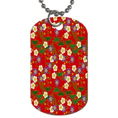Red Flower Floral Tree Leaf Red Purple Green Gold Dog Tag (one Side) by Alisyart