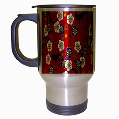 Red Flower Floral Tree Leaf Red Purple Green Gold Travel Mug (silver Gray) by Alisyart