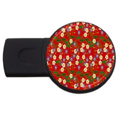 Red Flower Floral Tree Leaf Red Purple Green Gold Usb Flash Drive Round (4 Gb) by Alisyart