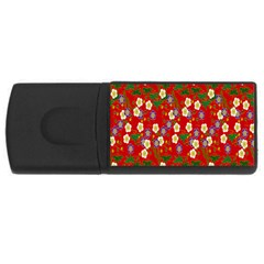 Red Flower Floral Tree Leaf Red Purple Green Gold Usb Flash Drive Rectangular (4 Gb) by Alisyart
