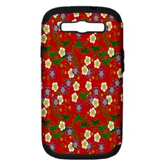 Red Flower Floral Tree Leaf Red Purple Green Gold Samsung Galaxy S Iii Hardshell Case (pc+silicone)