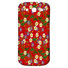 Red Flower Floral Tree Leaf Red Purple Green Gold Samsung Galaxy S3 S Iii Classic Hardshell Back Case