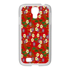 Red Flower Floral Tree Leaf Red Purple Green Gold Samsung Galaxy S4 I9500/ I9505 Case (white)