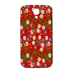 Red Flower Floral Tree Leaf Red Purple Green Gold Samsung Galaxy S4 I9500/i9505  Hardshell Back Case