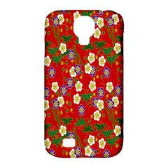 Red Flower Floral Tree Leaf Red Purple Green Gold Samsung Galaxy S4 Classic Hardshell Case (pc+silicone)