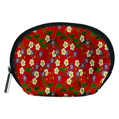 Red Flower Floral Tree Leaf Red Purple Green Gold Accessory Pouches (medium)  by Alisyart