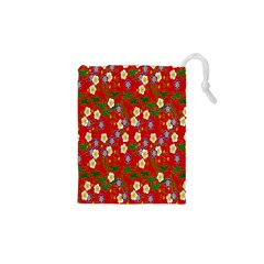 Red Flower Floral Tree Leaf Red Purple Green Gold Drawstring Pouches (xs)  by Alisyart