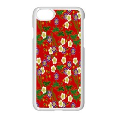 Red Flower Floral Tree Leaf Red Purple Green Gold Apple iPhone 7 Seamless Case (White) by Alisyart