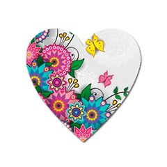 Flowers Pattern Vector Art Heart Magnet