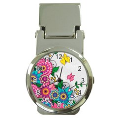 Flowers Pattern Vector Art Money Clip Watches by Amaryn4rt