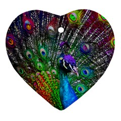 3d Peacock Pattern Heart Ornament (two Sides) by Amaryn4rt