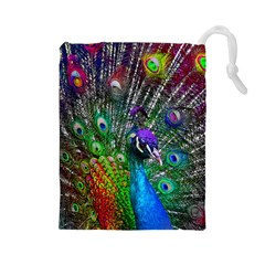 3d Peacock Pattern Drawstring Pouches (large)  by Amaryn4rt