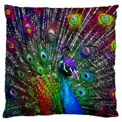 3d Peacock Pattern Large Flano Cushion Case (two Sides) by Amaryn4rt
