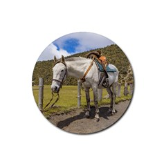 White Horse Tied Up At Cotopaxi National Park Ecuador Rubber Round Coaster (4 Pack)  by dflcprints