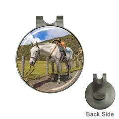 White Horse Tied Up At Cotopaxi National Park Ecuador Hat Clips With Golf Markers by dflcprints