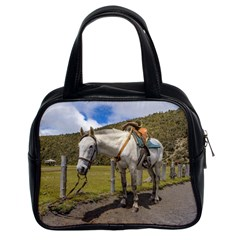 White Horse Tied Up At Cotopaxi National Park Ecuador Classic Handbags (2 Sides) by dflcprints