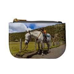 White Horse Tied Up At Cotopaxi National Park Ecuador Mini Coin Purses by dflcprints