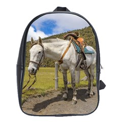 White Horse Tied Up At Cotopaxi National Park Ecuador School Bags(large)  by dflcprints