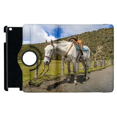 White Horse Tied Up At Cotopaxi National Park Ecuador Apple Ipad 3/4 Flip 360 Case by dflcprints
