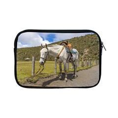 White Horse Tied Up At Cotopaxi National Park Ecuador Apple Ipad Mini Zipper Cases by dflcprints