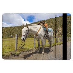 White Horse Tied Up At Cotopaxi National Park Ecuador Ipad Air Flip by dflcprints