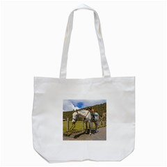 White Horse Tied Up At Cotopaxi National Park Ecuador Tote Bag (white) by dflcprints