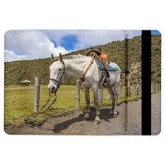 White Horse Tied Up At Cotopaxi National Park Ecuador Ipad Air 2 Flip by dflcprints