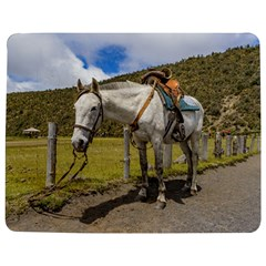 White Horse Tied Up At Cotopaxi National Park Ecuador Jigsaw Puzzle Photo Stand (rectangular) by dflcprints
