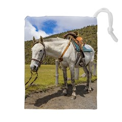 White Horse Tied Up At Cotopaxi National Park Ecuador Drawstring Pouches (extra Large) by dflcprints