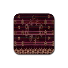 Ulos Suji Traditional Art Pattern Rubber Square Coaster (4 Pack)  by Amaryn4rt