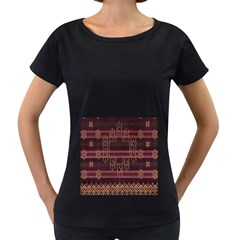 Ulos Suji Traditional Art Pattern Women s Loose-Fit T-Shirt (Black) by Amaryn4rt
