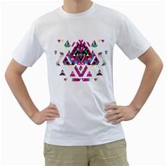 Geometric Play Men s T-Shirt (White) (Two Sided)