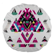Geometric Play Large 18  Premium Round Cushions by Amaryn4rt