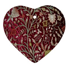 Crewel Fabric Tree Of Life Maroon Ornament (heart) by Amaryn4rt