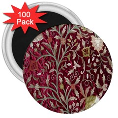 Crewel Fabric Tree Of Life Maroon 3  Magnets (100 Pack)