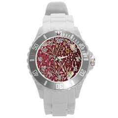 Crewel Fabric Tree Of Life Maroon Round Plastic Sport Watch (l) by Amaryn4rt