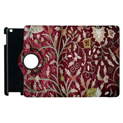 Crewel Fabric Tree Of Life Maroon Apple Ipad 3/4 Flip 360 Case by Amaryn4rt