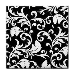 Vector Classical Traditional Black And White Floral Patterns Tile Coasters by Amaryn4rt