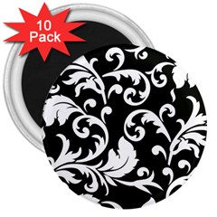 Vector Classical Traditional Black And White Floral Patterns 3  Magnets (10 Pack)  by Amaryn4rt