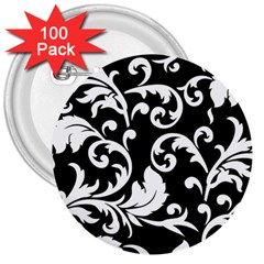 Vector Classical Traditional Black And White Floral Patterns 3  Buttons (100 Pack)  by Amaryn4rt