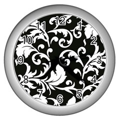Vector Classical Traditional Black And White Floral Patterns Wall Clocks (silver)  by Amaryn4rt