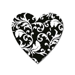 Vector Classical Traditional Black And White Floral Patterns Heart Magnet by Amaryn4rt