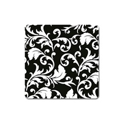 Vector Classical Traditional Black And White Floral Patterns Square Magnet by Amaryn4rt