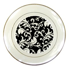 Vector Classical Traditional Black And White Floral Patterns Porcelain Plates by Amaryn4rt